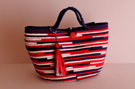 BY ORDER ONLY Red White n' Blue Basket Bag, Summer BohoChic Bag, Handmade Coloured Bag