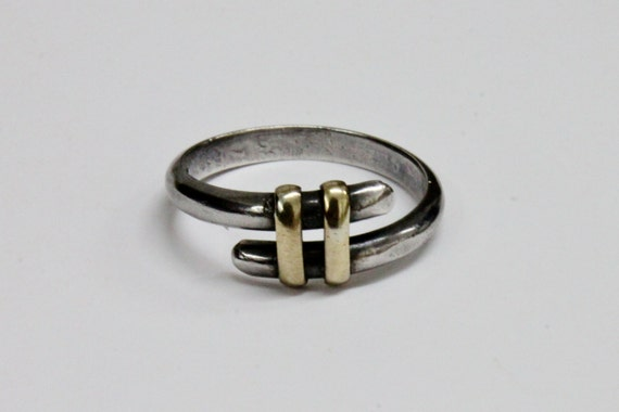 SILVER RING with GOLD details, Silver band, Engagement Ring
