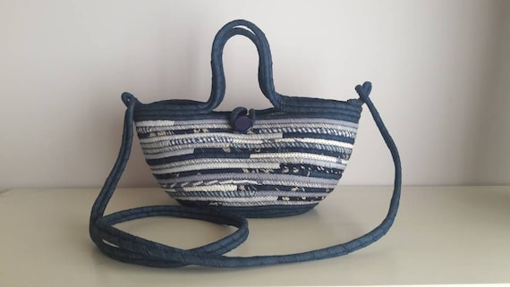 BY ORDER ONLY: Cross Body Blue Basket Bag, Small Denim Upcycled Basketbag, Cross Body BohoChic Bag, Handmade Fabric Bag