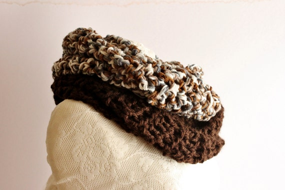 Unisex Crochet Shawl, Handmade Wool Scarf, Chunky Brown Crochet Wool Loop
