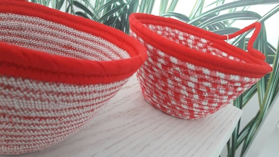 All Red Baskets,  Upcycled Red Bowls, Red Twins, Modern Baskets, Home Decor