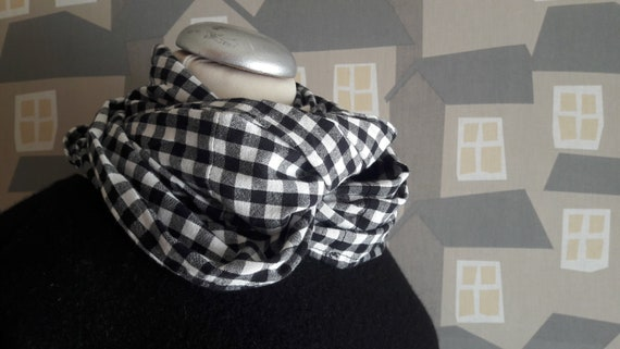 Upcycled Black and White Scarf,Spring Autumn  Checkered  Scarf, Black and White Cotton Unisex Loop