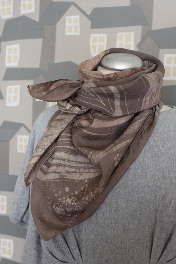 Vintage BATIK Silk Scarf, 90's scarf, Aubergine/ Pink Batik Chic