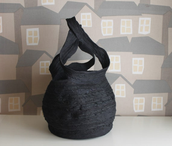 NEW LINE, Upcycled All Black Basket Bag, Upcycled Black Fabrics Coiled Bag, BohoChic Bag, Handmade Bag