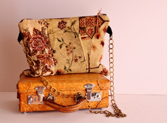 Cross Body Clutch Bag, Vintage Upholstery Clutch bag, Handmade Patchwork Cross Body Bag