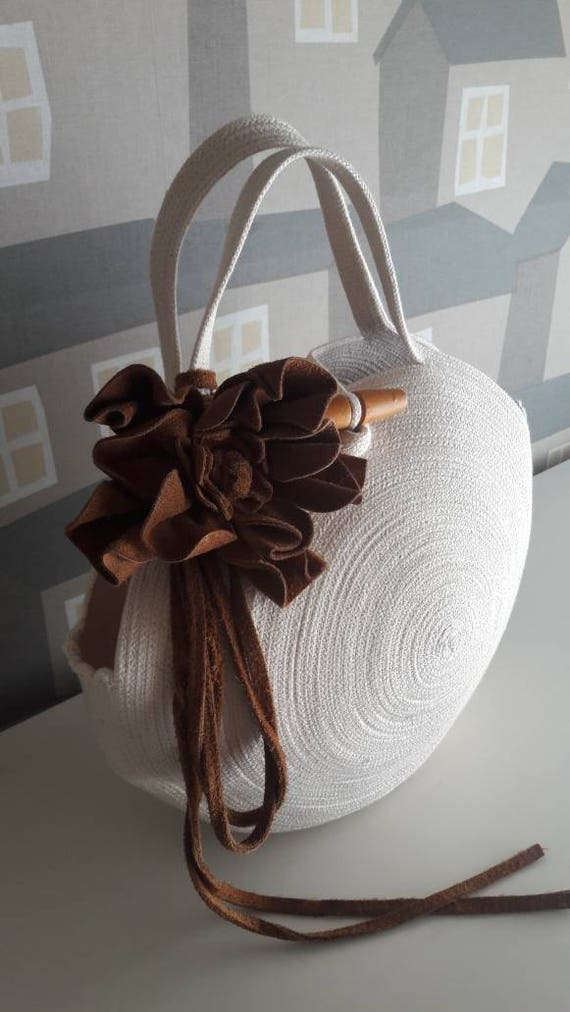 BY ORDER ONLY: Small Round Off White  Basket Bag, Monochrome Basketbag, French Style Basket Bag, Handmade Rope Bag