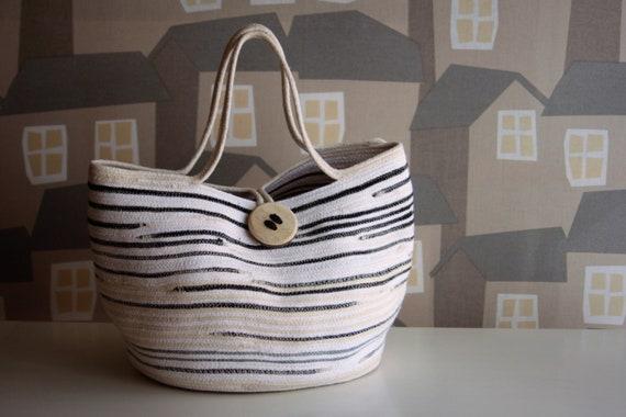 NEW LINE: White/Beige/Black Basket Tote Bag, Handmade Rope Tote Bag