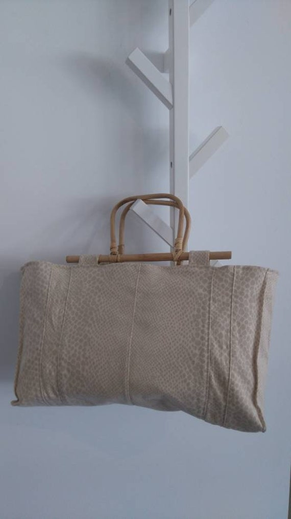 UPCYCLED Beige Tote Bag with Cane Handles, Special Design Beige Bag, Vintage Cane Handle Bag,  Summer bag, Beach Bag