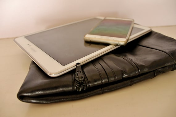 Black Leather Tablet Sleeve, Upcycled Leather Tablet Case, Handmade Black Leather Clutch Bag