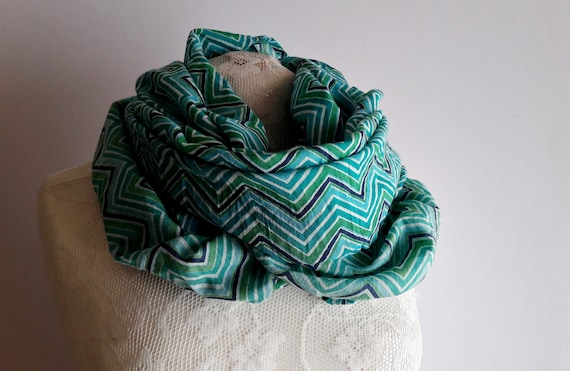 Upcycled Turquise/Lime Spring Loop, Spring/Autumn SCARF, Trendy, Casual  Unisex Scarf