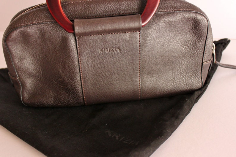 e86333390c Vintage Krizia Clutch Bag Krizia Brown Leather Bag Authentic