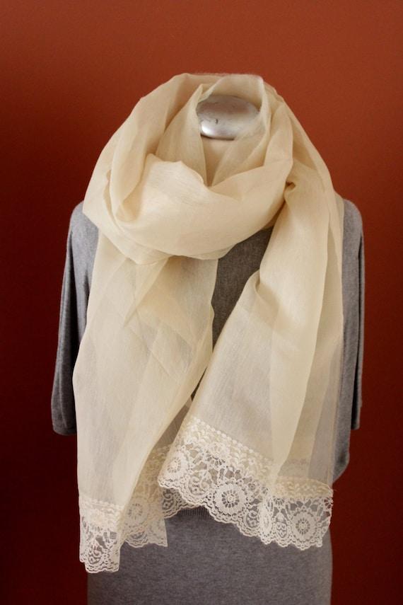 Raw Silk Autumn Foulard, Classy Echarpe, Vintage Lace Shawl