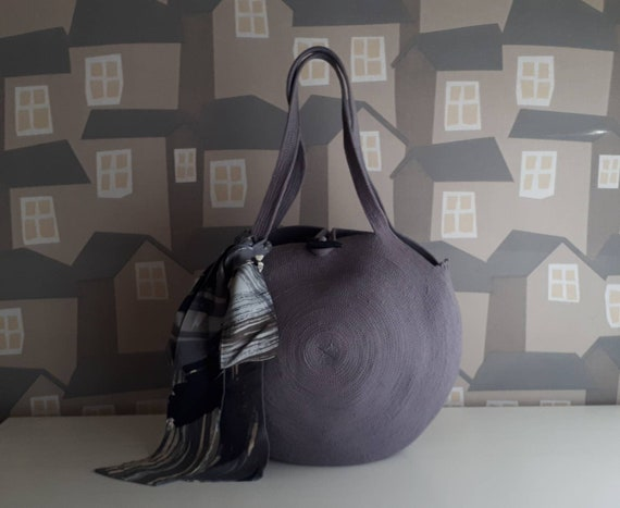 BY ORDER ONLY: Big Round Grey Basket Bag, Monochrome Basketbag, French Style Basket Bag, Handmade Rope Bag