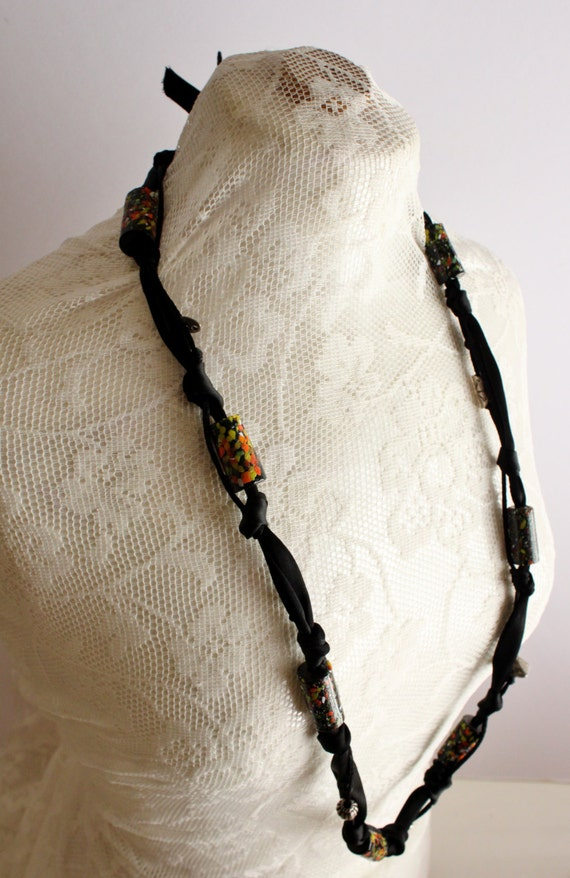 Handmade Statement Necklace, Black/Orange Clay Beats Necklace, Black and Silver Statement Necklace