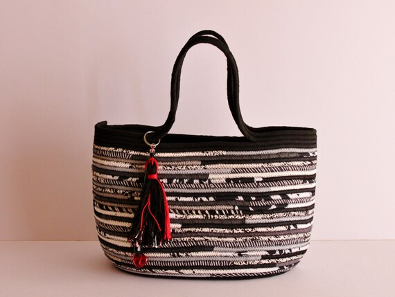 BY ORDER ONLY: Black n' White Basket Bag, Black and White with Zip Closure, BohoChic Bag, Handmade B&W Bag