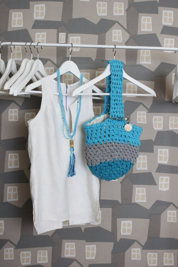Turquise/Grey Upcycled Crochet Tote Bag, Market Bag, Crochet Market Bag