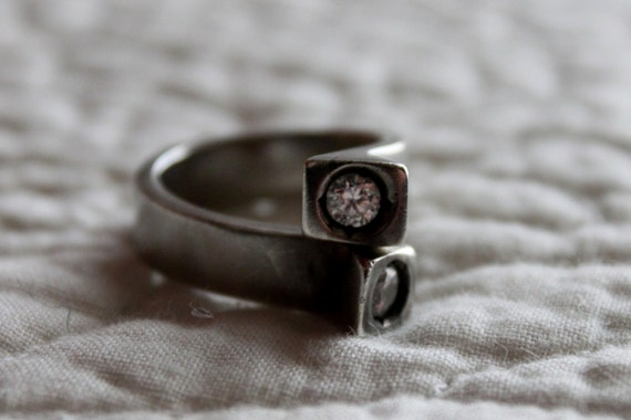 SILVER RING with ZIRCONIA stones