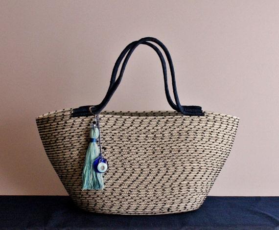 BY ORDER ONLY: White and Black Basket Bag, Monochrome Basketbag, Summer BohoChic Bag, Handmade Rope Bag