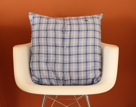 UPCYCLED Light Blue Checkered CUSHION, Handmade Blue Cushion, Checkered Blue Cushion