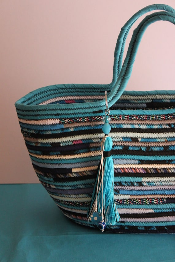 BY ORDER ONLY: Turquise and Black Basketbag, Bohochic Basket Bag, Upcycled Basket Tote Bag