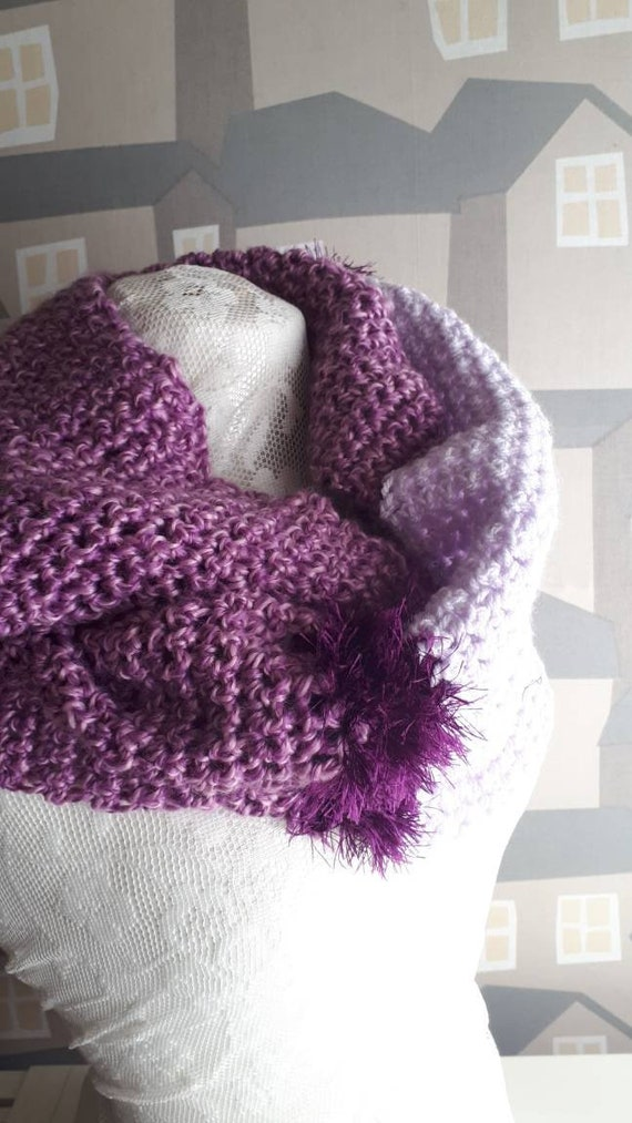 Viola Crochet Scarf, Two Coloured Snoot, Handmade Wool Scarf, Chunky Viola Crochet Wool Loop