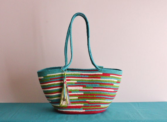 BY ORDER ONLY: Turquise/Fucsia/Lime Basketbag, Bohochic Basket Bag, Upcycled Basket Tote Bag
