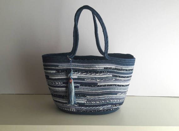 BY ORDER ONLY: All Blue Basket Bag, Denim Upcycled Basketbag, Summer BohoChic Bag, Handmade Denim Bag