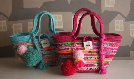 BY ORDER ONLY: Young Lady's Basketbag,  Bohochic Basket Bag, Summer Basket Tote Bag, Make your own Colour Combination