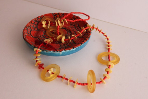 Yellow and Red Summer Necklace, Handmade Beats Necklace, Resin and Mother of Pearl Statement Necklace