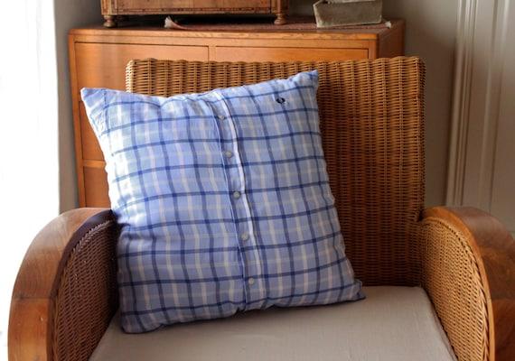 UPCYCLED Light Blue Checkered CUSHION, Handmade Blue Cushion, Checkered Blue Cushion