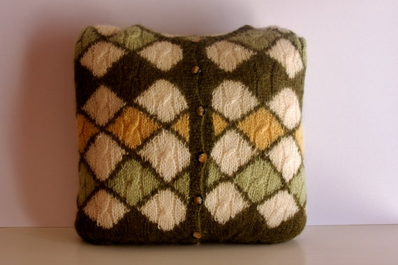 Upcycled Green Wool/Mohair Cushion Cover, Handmade Special Mohair Cushion