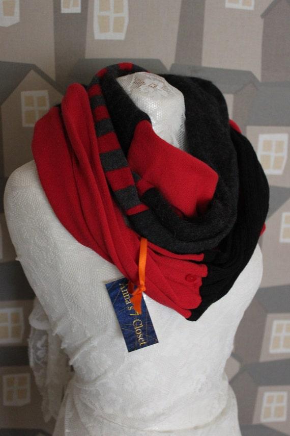 Three Coloured Wool LOOP, Cashmere/Wool Unisex Loop, Grey/Black/Red Unisex Scarf/Loop