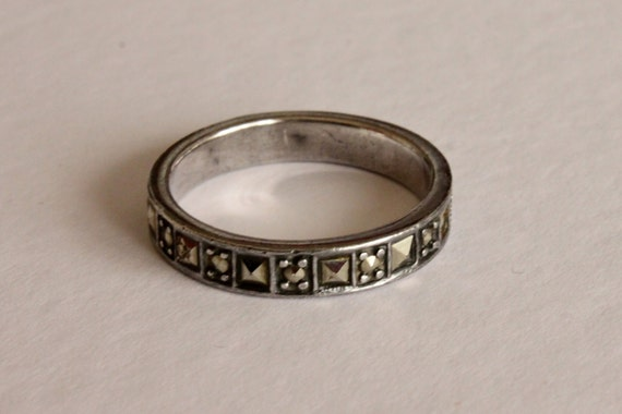 Vintage 925 SILVER Ring with MARCASITES, Vintage Engagement Ring, Silver Engagement Band