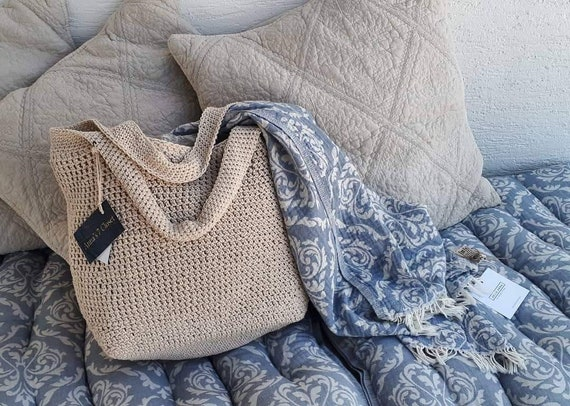 BY ORDER ONLY: Handmade Crochet Bag, Summer Beach Bag, Rope Beach Bag, Beige Crochet bag with Wooden Handles
