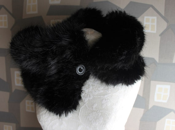 Black Faux Fur Neck Warmer, Fur Snoot, Fur Loop, Handmade Faux Fur Neck Warmer