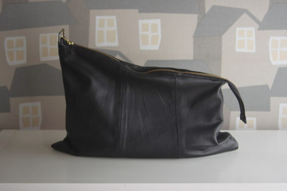 Black Leather Clutch Bag, Upcycled Leather Tablet Case, Handmade Black Leather Clutch Bag