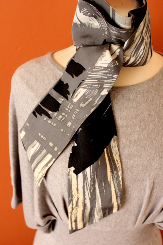 Upcycled MULTICOLOR Long Scarf, French Style Foulard, Autumn Scarf/Foulard, Modal Black/White/Grey/Brown