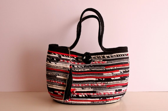 BY ORDER ONLY: Black n' White Basket Bag, Black and White with a touch of Red, BohoChic Bag, Handmade B&W Bag