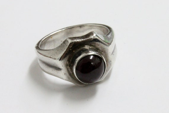 925 SILVER RING with GARNET stone, Vintage Silver Ring, Garnet Silver Ring