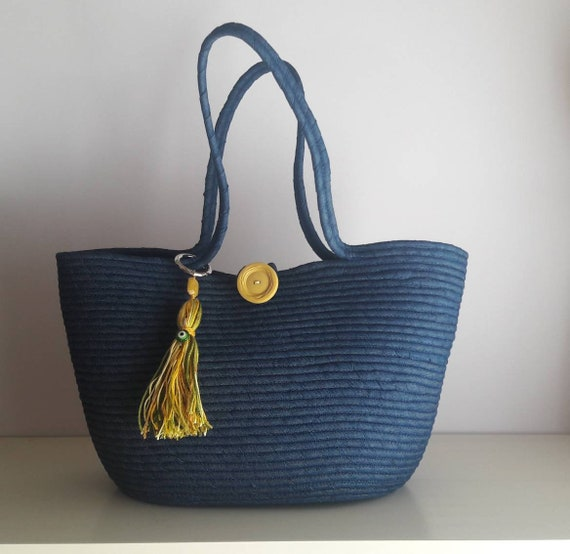 BY ORDER ONLY: Blue Jeans Basket Bag, Monochrome Basketbag, Summer BohoChic Bag, Handmade Denim Bag