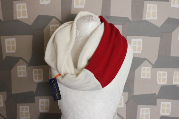 White/Red Wool Loop, Two Coloured Wool HERS Loop, 2 COLOURED Unisex Scarf/Loop