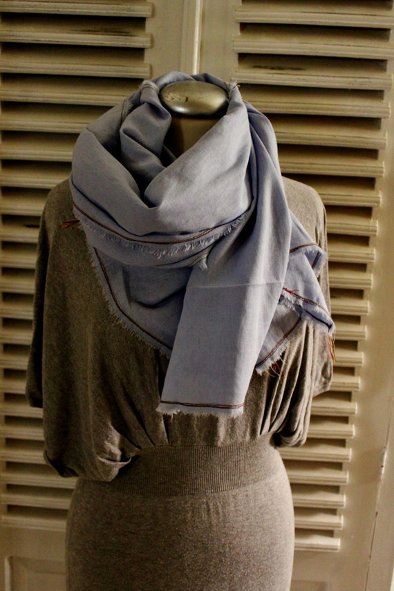 AUTUMN Linen Scarf, Light Blue Scarf, Unisex Linen Scarf