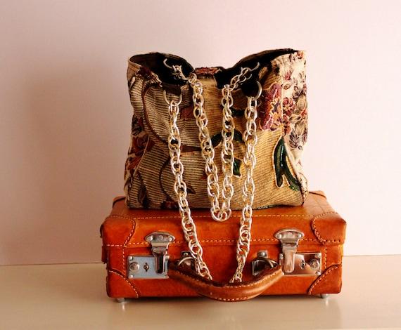 Vintage Upholstery Tote Bag, Handmade Patchwork Bag, Upcycled Fabric Bag