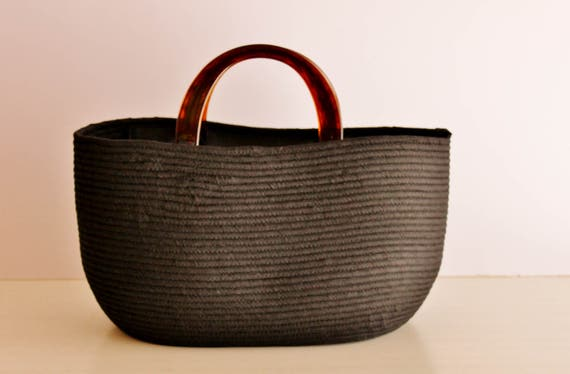 BY ORDER ONLY: Black Basket Bag, Monochrome Basketbag, BohoChic Bag, Handmade Fabric Bag