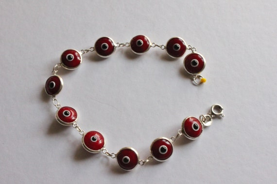 925 SILVER BRACELETS, Red 'Eyes' Bracelet, Orange Stone Bracelet, Special Collection Silversmith's Handmade Bracelets