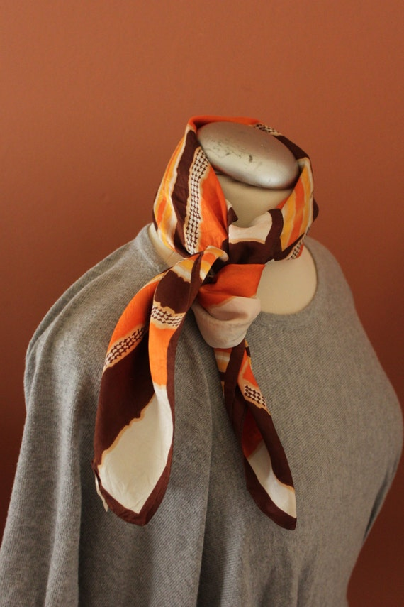 VINTAGE St Michael's Scarf, 90's scarf, Orange/Brown Retro Scarf