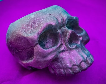 Brawlberry skull- A Silvery Metallic Mulberry Purple Skull Glitter Resin Tea Light Holder