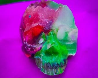 Bowie Skull / Succulent Planter / Skull Décor / Candle Holder / Small Planter /  Resin Skull / Glitter Skull / Air Plant Holder