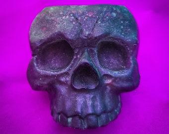 Devil's Plum Skull- A Metallic Purple Skull Glitter Resin Tea Light Holder