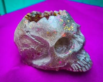 Silver Haze Skull / Succulent Planter / Skull Décor / Candle Holder / Small Planter /  Resin Skull / Glitter Skull / Air Plant Holder